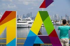Panama podpisuje wewnątrz schronienie Fotografia Royalty Free
