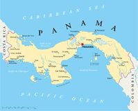Panama Political Map. With capital Panama City, national borders, most important cities, rivers and lakes. Illustration with English labeling and scaling stock illustration
