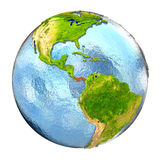 Panama in red on full Earth Stock Image