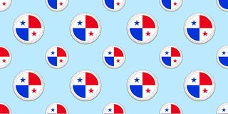 Panama round flag seamless pattern. Panamanian background. Vector circle icons. Geometric symbols. Texture for sports royalty free illustration