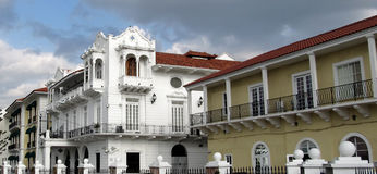 Panama's Presidential Palace, located in Casco Antiguo - UNESCO patrimony in old Panama City. Built in 1673, the now called Palacio de las Garzas (Herons' stock images