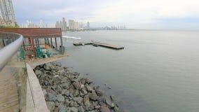 East coast Panama City ocean and skyline panorama. Panama September 2018 East coast Panama City ocean and skyline panorama stock video