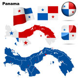 Panama set. Detailed country shape with region borders, flags and icons isolated on white background Royalty Free Stock Photos