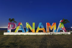 When the Panama sign was constructed in downtown Panama City. PANAMA CITY, PANAMA - JANUARY 1st, 2017: When the Panama sign was constructed in downtown Panama Royalty Free Stock Photos
