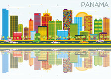 Panama Skyline with Color Buildings, Blue Sky and Reflections. Royalty Free Stock Images