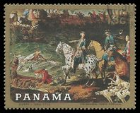 Hunting for a deer by Oudry. Panama - stamp 1968: Color edition on Art, shows Painting Hunting for a deer by Oudry Royalty Free Stock Photo