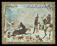 Hunting with dogs by Courbet Royalty Free Stock Photo