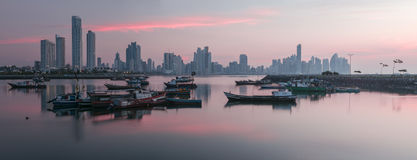 Panama Sunrise. A View of the Panama city with Boats, from the fish Market Stock Photo