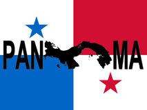 Panama text with map Stock Photography