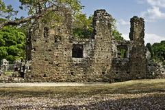 Panama Vieja, Old Panama. Stone ruins of the settlement known as the old city of Panama, Panama Vieja, the oldest capital in the Americas,  set within the trees Stock Photo