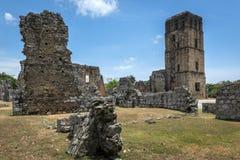 Panama Viejo fördärvar, Panama City Arkivbilder