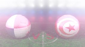 Panama vs Tunisia, 2018 FIFA World Cup. Original 3D video. June 28, Panama versus Tunisia 2018 FIFA World Cup. Original 3D video. Two balloons above a soccer stock footage