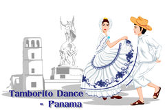Panamanian Couple performing Tamborito dance of Panama Royalty Free Stock Photography