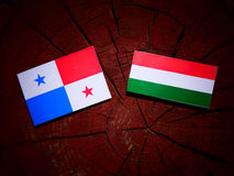 Panamanian flag with Hungarian flag on a tree stump isolated Stock Photography