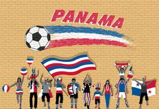 Panamanian football fans cheering with Panama flag colors in fro. Nt of soccer ball graffiti. All the objects are in different layers and the text types do not stock illustration