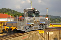 Panamanian train in Panamanian channel Royalty Free Stock Photography