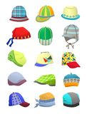 Panamas and caps for boys Royalty Free Stock Photography