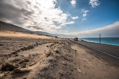 Panamericana road with Pacific ocean on the right Royalty Free Stock Image