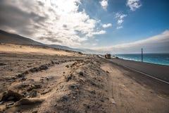 Panamericanaweg met Vreedzame oceaan op het recht Royalty-vrije Stock Afbeelding