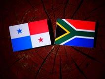 Panamese vlag met Zuidafrikaanse vlag op een geïsoleerde boomstomp royalty-vrije illustratie
