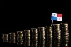 Panamian flaga z udziałem monety na czerni Obraz Royalty Free