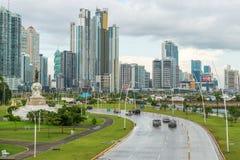 Panamska miasta śródmieścia linia horyzontu Obrazy Royalty Free