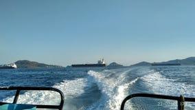 Panamski kanał, statki na zakotwienie fotografia stock