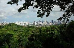 Panamski miasto od Parque Naturalny Metropolitano obrazy stock