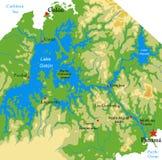 Panamskiego kanału fizyczna mapa fotografia stock