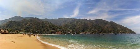 Pananorama пляжа Yelapa около Puerto Vallarta, Халиско, Мексики Стоковое Изображение