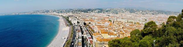 Panaorama Niza, 'promenade' del Anglais Fotos de archivo libres de regalías