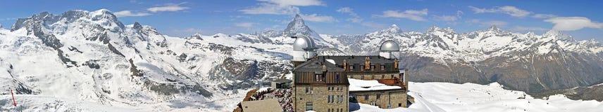Panaormaic View of Matterhorn. Looking at the famous mountain, Matterhorn, from Gornergrat, Valais, Swiss stock image