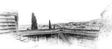 Panarama de AlbaicÃn de Torre del Cubo Imagen de archivo libre de regalías