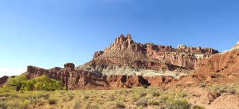 Panorama of Eroded Landscape of Capital Reef National Park, Utah. Panarama of the Eroded Red Rock Landscape of Capital Reef National Park, Utah stock photo
