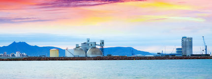 Panarama of industrial port  in  Castellon de la Plana in dawn Royalty Free Stock Image