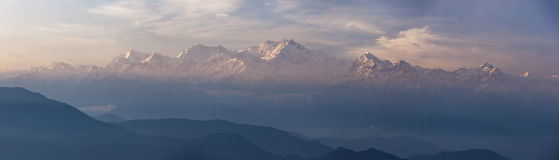 Panarama of Kanchenjunga range peak Royalty Free Stock Photography