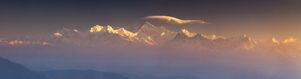 Panarama of Kanchenjunga range peak Stock Photography