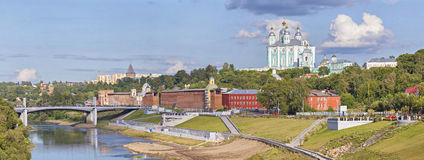Panarama of Smolensk from Dnepr river Royalty Free Stock Images