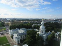 Panarama of St. Petersburg. The observation deck on the bell tower of Smolny Cathedral Stock Images