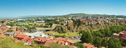 Panarama Tbilisi Vredesbrug Kurarivier Stock Foto's