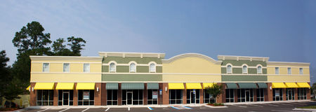 Panaramic commercial strip mall Stock Photo