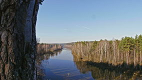 Panaramic veiw of mountain river landscape of Chusovaya river in siberia, Ural, Russia. Slider, 4k stock video footage