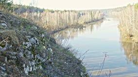 Panaramic veiw of mountain river landscape of Chusovaya river in siberia, Ural, Russia. Slider, 4k stock video