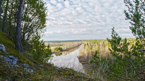 Panaramic veiw of mountain river landscape  Chusovaya  in siberia, Ural, Russia Stock Photography