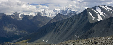 Panaramic view on Belukha mountain, Altai Royalty Free Stock Images
