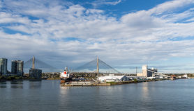 Panaramic view of Glebe Island in Sydney Harbour. With Sydney Exhibition Centre and Anzac Bridge in background Royalty Free Stock Photo