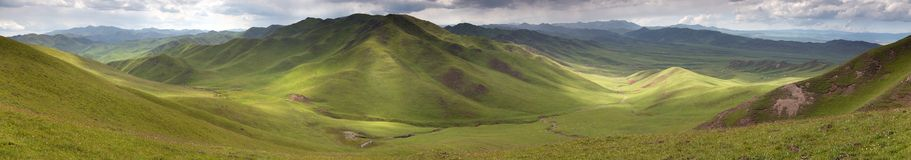 Panaramic view of green mountains - East Tibet Stock Photo