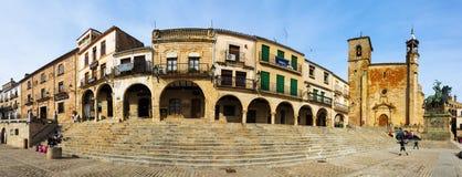 Panaramic view of Plaza Mayor in Trujillo Stock Photography