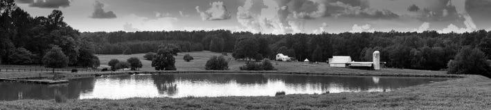 Panaramicmening van landbouwbedrijf met vijver stock foto