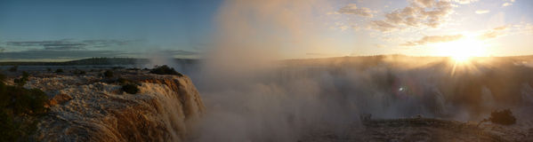 Panaroma iguacu waterfalls at sunset Stock Image